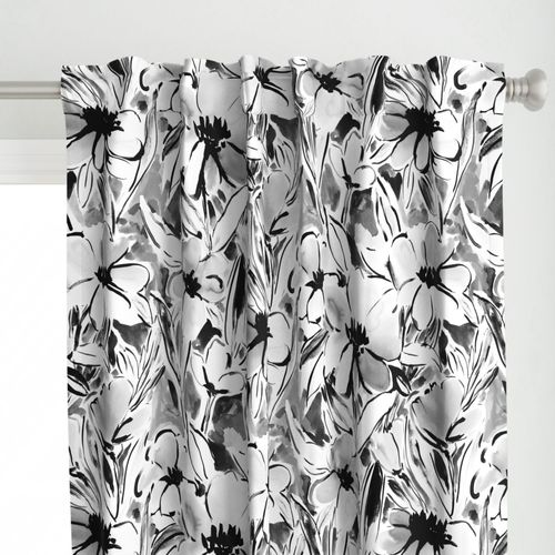 Large Scale Painterly floral in black and white