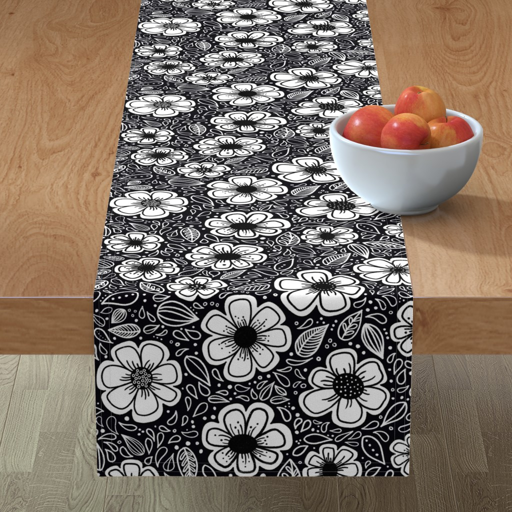 Minorca Table Runner featuring Happy Painterly Flowers by kathryncole
