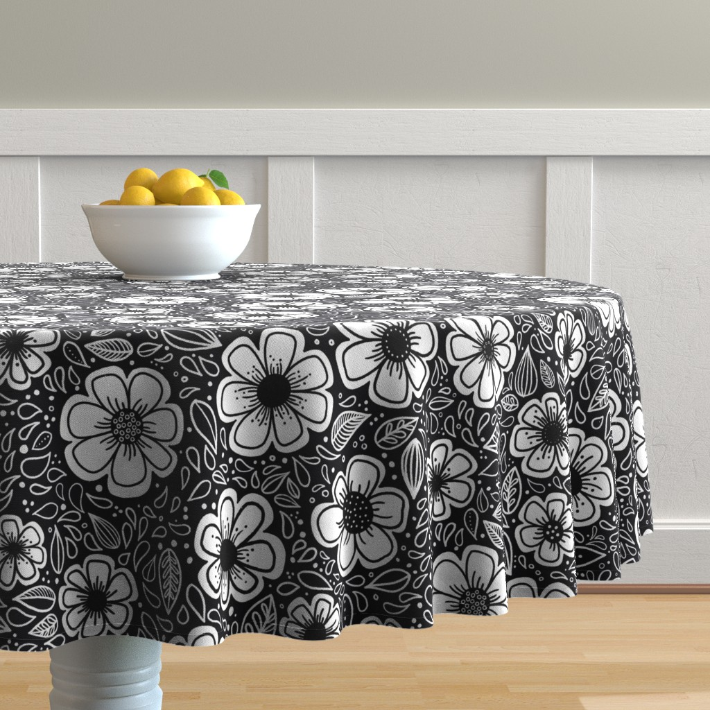Malay Round Tablecloth featuring Happy Painterly Flowers by kathryncole
