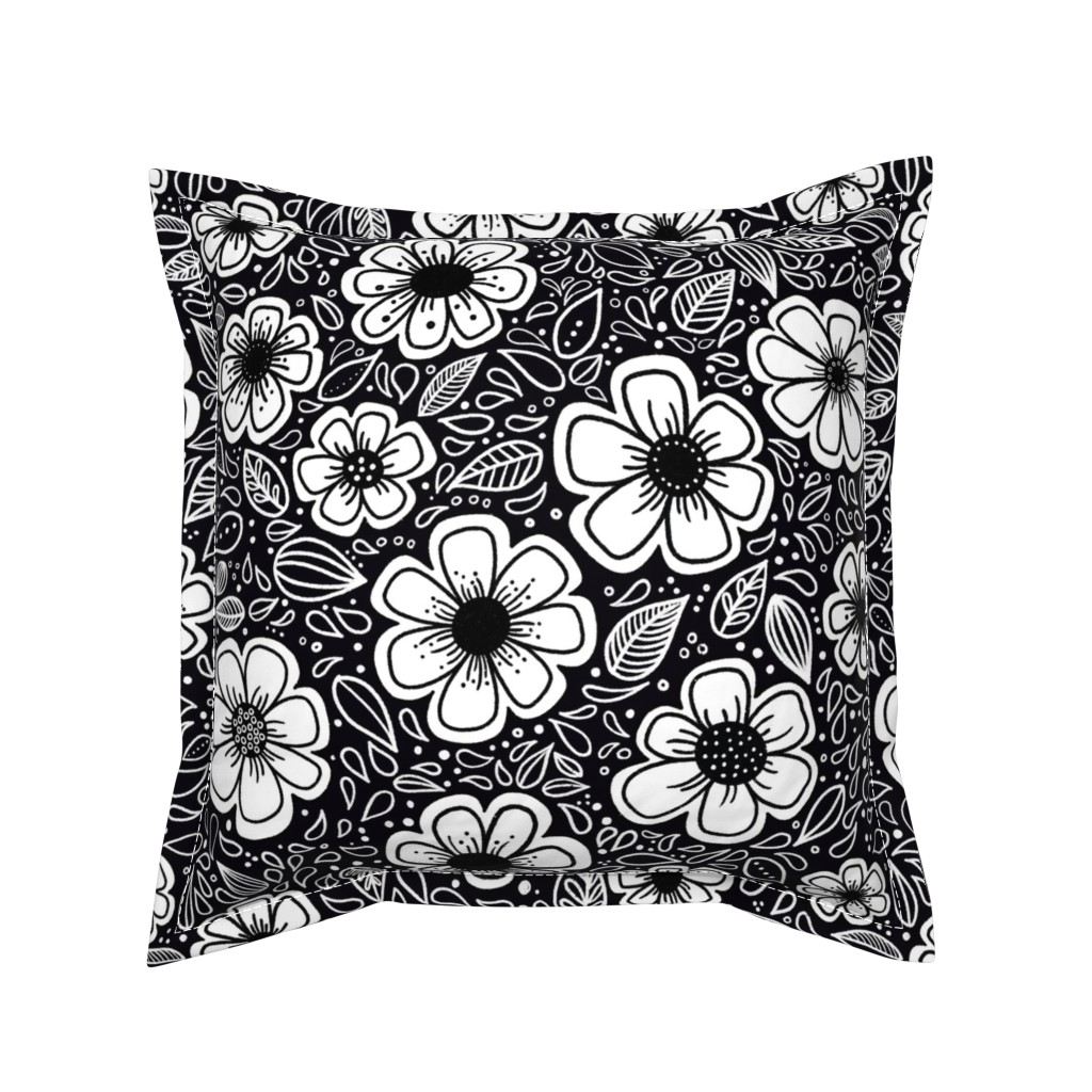 Serama Throw Pillow featuring Happy Painterly Flowers by kathryncole