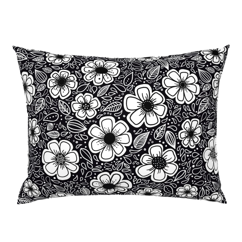 Campine Pillow Sham featuring Happy Painterly Flowers by kathryncole