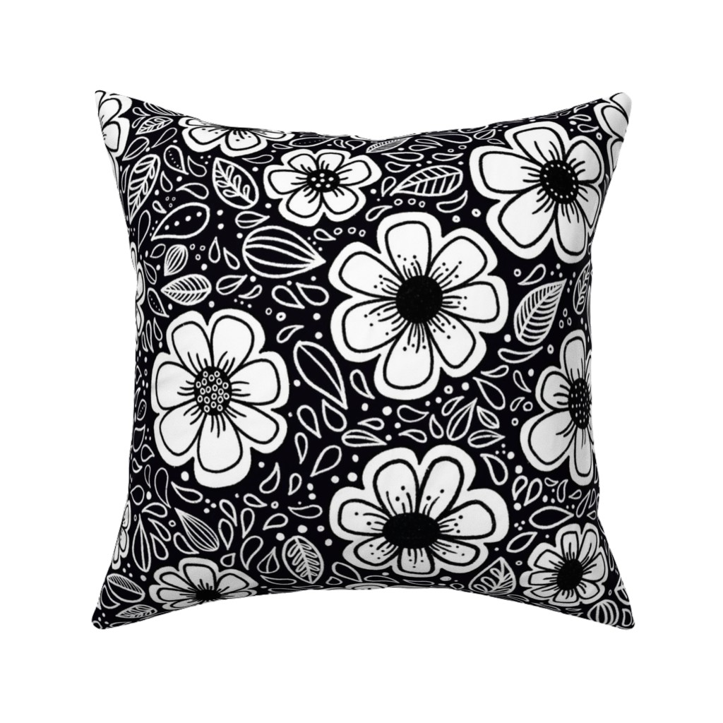 Catalan Throw Pillow featuring Happy Painterly Flowers by kathryncole