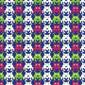 Invader Blue, Pink, and Lime Green