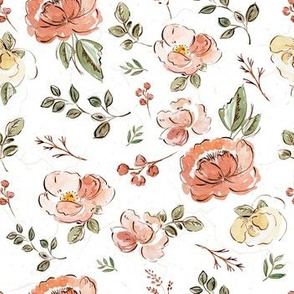 Hand Drawn Outline Floral Print with Pin kTexture
