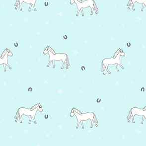 white ponies  (aqua) // kids print, girls room