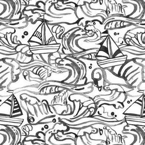 Waves & Sailboats - Black and White in Small Scale