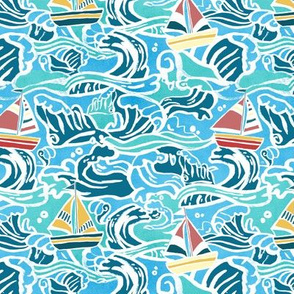 Waves & Sailboats - Small Scale
