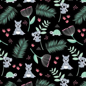 Australian animals kangaroos koalas and turtles palm leaves and flowers summer night garden pink girls