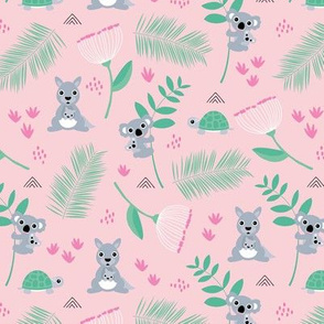 Australian animals kangaroos koalas and turtles palm leaves and flowers summer garden pink girls