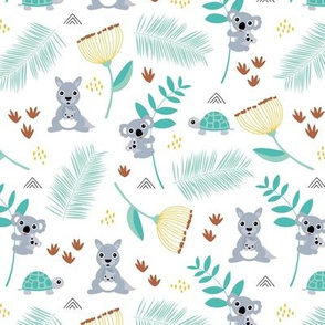 Australian animals kangaroos koalas and turtles palm leaves and flowers summer night garden navy blue green orange gender neutral