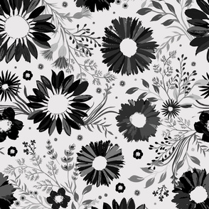 Painterly Sunflowers Grey Jumbo