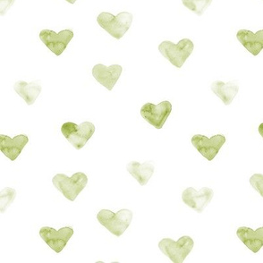 Watercolor olive green hearts ★ painted tonal khaki hearts for modern scandi nursery, romantic saint valentines