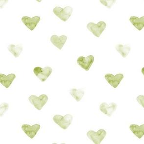 Watercolor olive green hearts ★ painted tonal khaki hearts for modern scandi nursery, romantic saint valentines