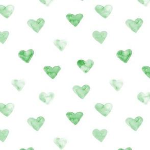 Watercolor green hearts ★ lovely pattern for modern nursery