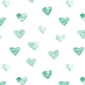Emerald neutral watercolor hearts ★ painted romantic design for saint valentines
