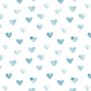 Denim blue watercolor hearts for romantic saint valentines