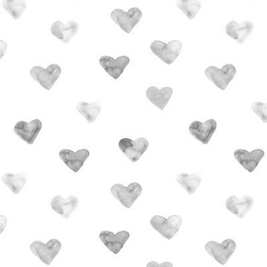 Silver watercolor hearts for saint valentines sweet design