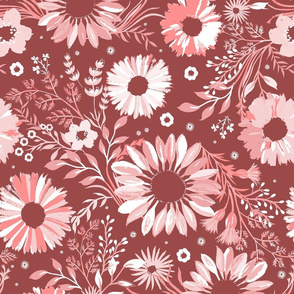 Painterly Sunflowers Pink Medium