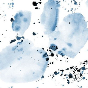 Denim blue watercolor painted abstract ★ stains and splatters for modern monochrome home decor, bedding, nursery