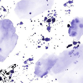 Amethyst watercolor abstract shapes and splatters ★ watercolor tonal purple minimal monochrome painted design for modern home decor, bedding, nursery