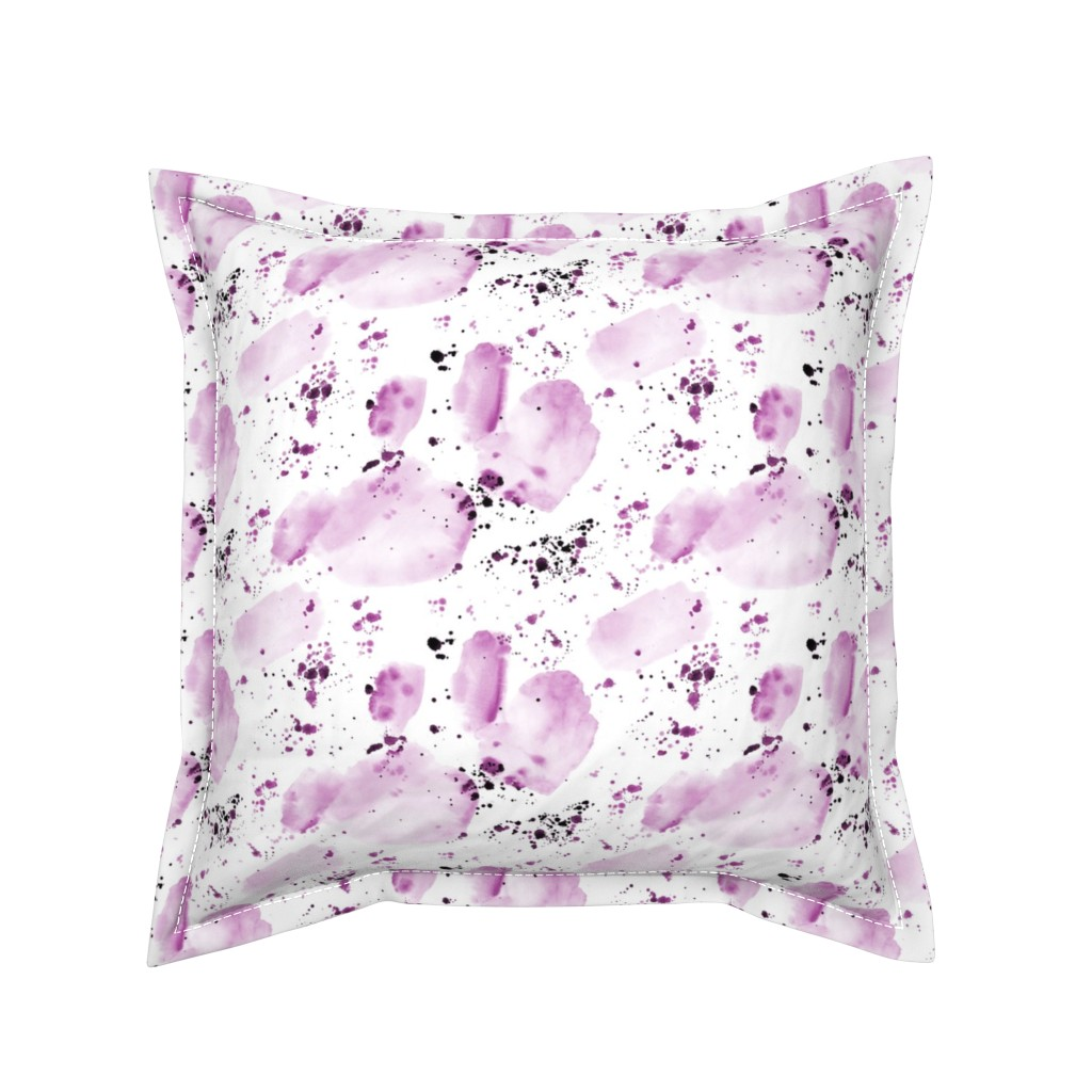 Serama Throw Pillow featuring Plum watercolor shapes and splatters ★ painted abstract tonal purple design for modern home decor, bedding, nursery by katerinaizotova