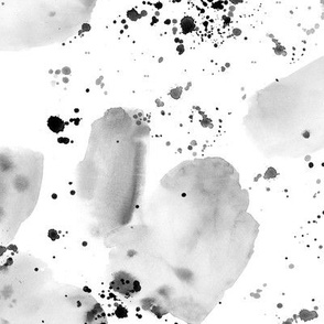 Silver watercolor stains and splatters ★ painted grey abstract shapes for modern home decor, bedding, nursery