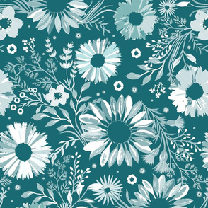Painterly Sunflowers Teal Medium