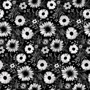 Painterly Sunflowers Black Small