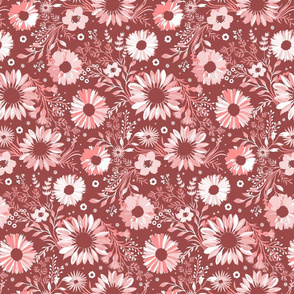 Painterly Sunflowers Pink Small