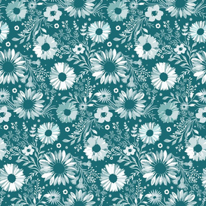 Painterly Sunflowers Teal Small