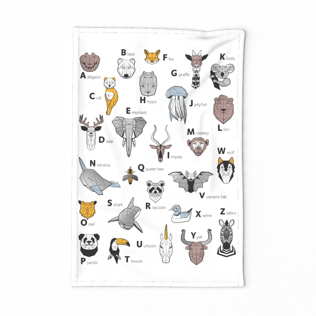 Special Edition Spoonflower Tea Towel featuring Tea towel fat quarter scale // ABC Geometric animal alphabet // white background black and white animals with yellow grey blue and taupe details by selmacardoso