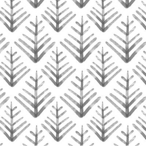 Watercolor Pine- Black and White