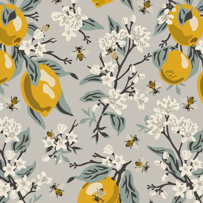 Bees & Lemons - Large - Grey (blue leaves)