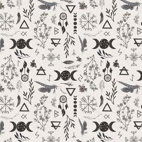 moon magic - black on ivory linen