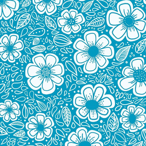Happy Painterly Flowers in Turquoise