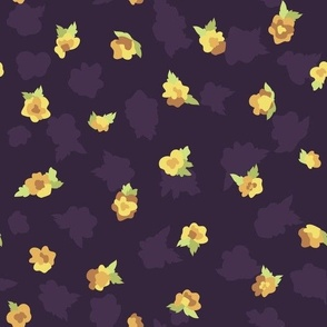 Tiny Yellow Roses on Purple seamless pattern background.
