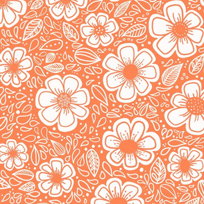 Happy Painterly Flowers in Orange