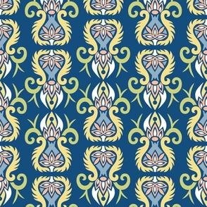 Art Nouveau modern oriental floral classic blue Wallpaper