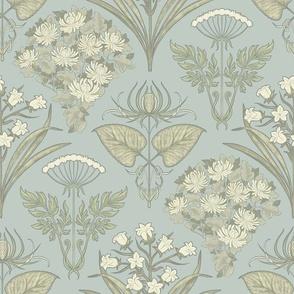 Nouveau VIctorian Floral Combination in light Blue