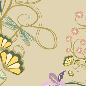 Art Nouveau Dragonfly beige background Jumbo
