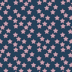 Leopard animal print Stars and navy blue sky american traditional colors red blue