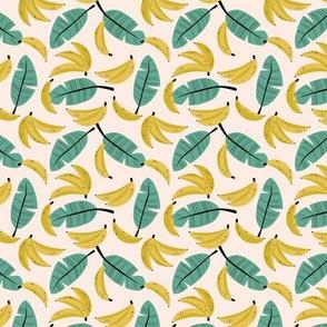 Tropical summer bananas and banana leaves jungle garden yellow sage green