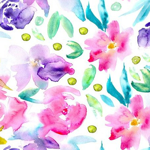 Ethereal watercolor flowers in pink and purple ★ painted florals for modern home decor, bedding, nursery