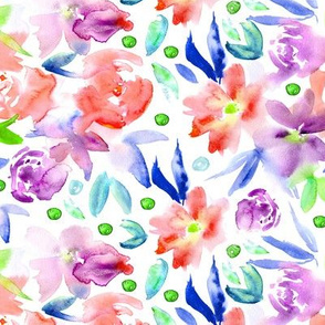 Ethereal watercolor flowers in red and purple ★ painted florals for modern home decor, bedding, nursery