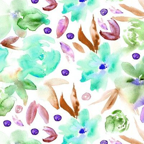 Ethereal watercolor flowers in aqua ★ painted florals for modern home decor, bedding, nursery