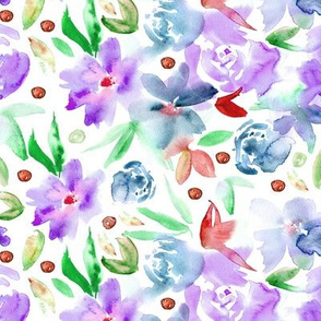 Ethereal watercolor flowers - painted wildflowers for modern home decor, bedding, nursery