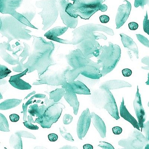 Aqua blue watercolor ethereal flowers for modern home decor, bedding, nursery