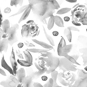 Platinum ethereal flowers - watercolor florals in shades of grey