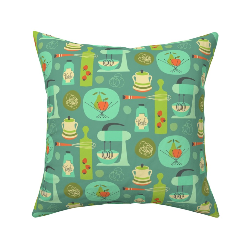 Catalan Throw Pillow featuring kitchen kitsch blue by studiojenny