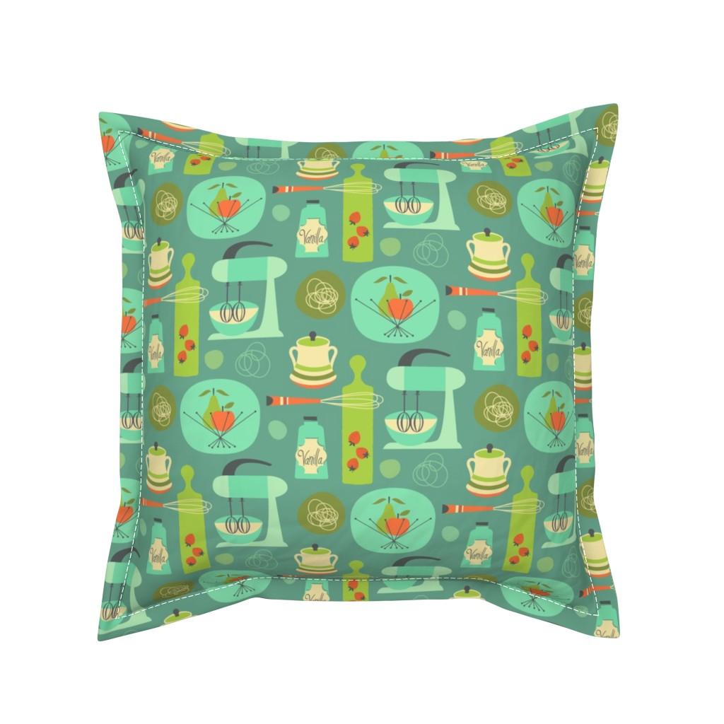 Serama Throw Pillow featuring kitchen kitsch blue by studiojenny